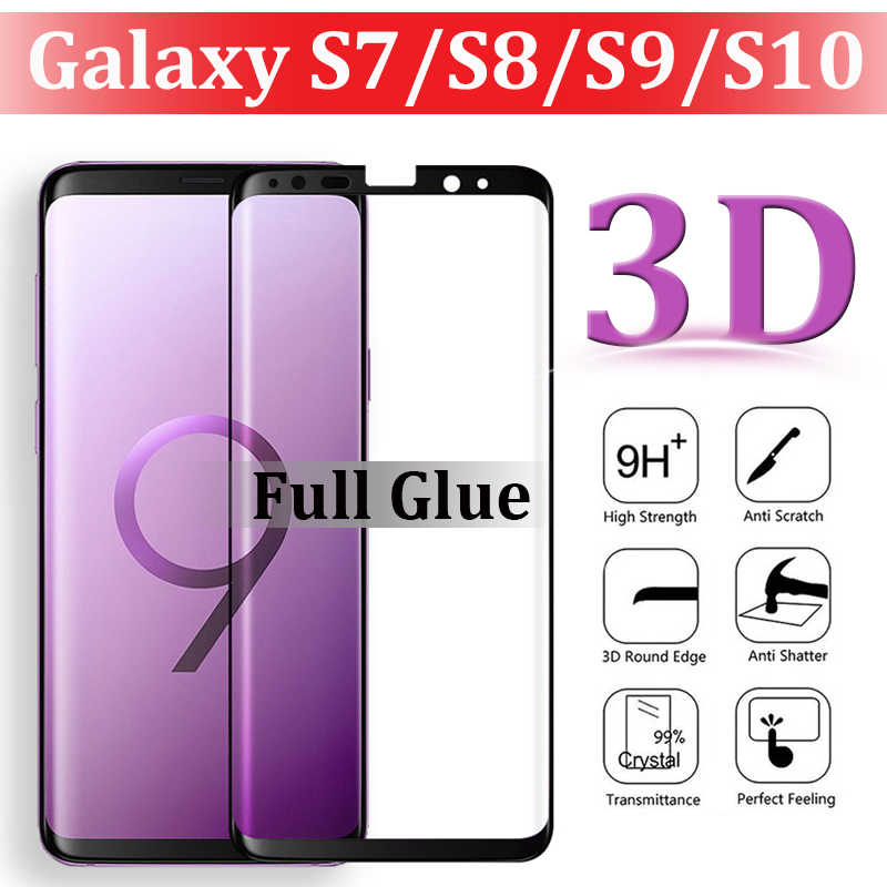 3D Full Glue Protective Glass On For Samsung Galaxy s7 s8 s9 s10 Screenprotector S 7 8 9 10 s8plus s9plus S10e s10plus Tempered