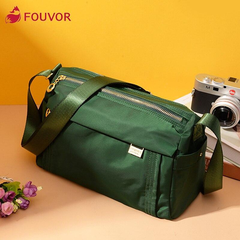 Fouvor 2019 New Fashion Small Shoulder Bags For Women Nylon Zipper Solid Shoulder Messenger Bag 6013-04