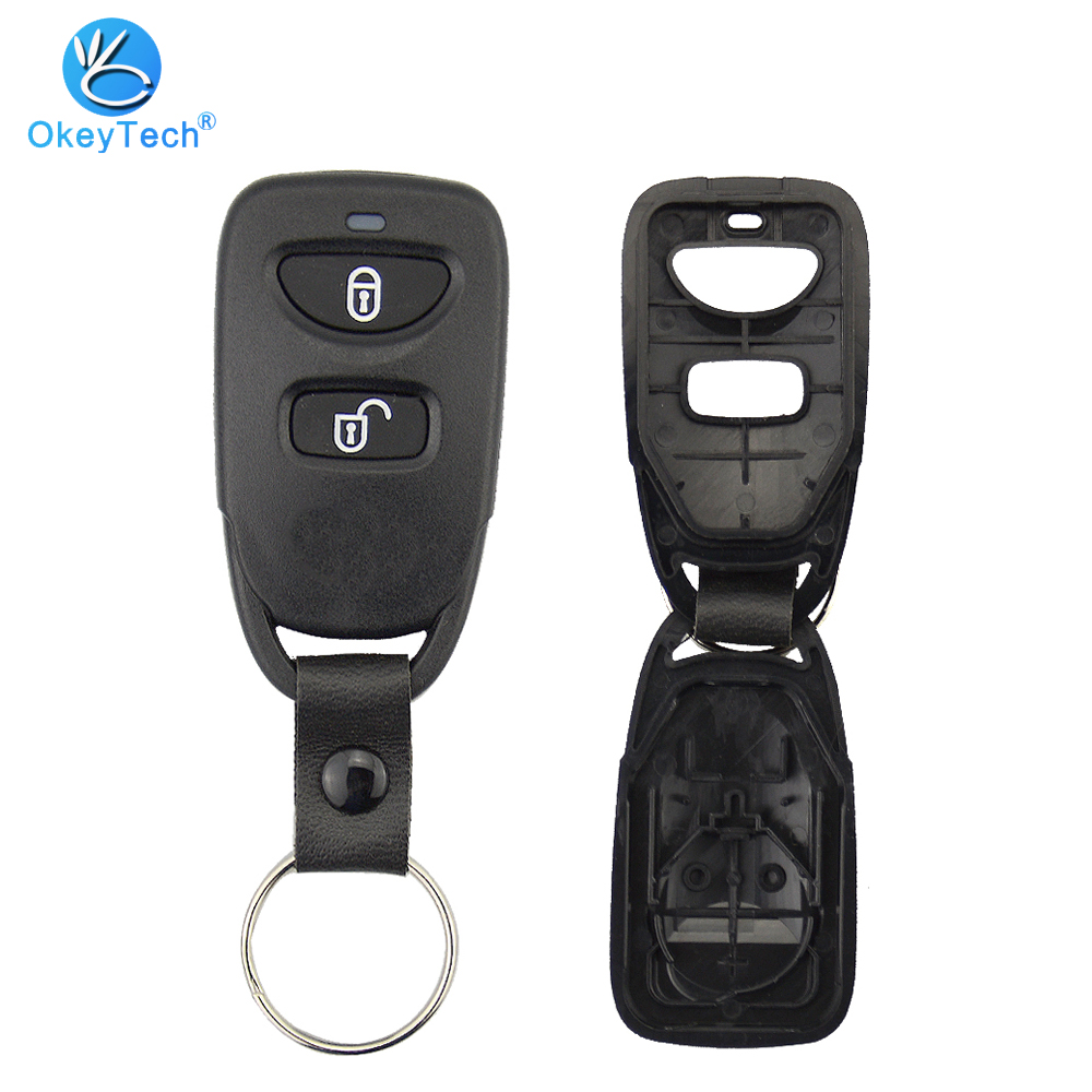 OkeyTech for <font><b>Hyundai</b></font> Santa Fe Remote <font><b>Car</b></font> Key Shell Auto Replacement Cover Case Fob Housing Keychain 2 Button With <font><b>Battery</b></font> Holder image