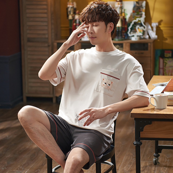 Spring And Autumn Men's 6535 Cotton Short Sleeve Shorts Korean-style Men Young And Middle-aged Thin Japanese Korean Home Wear Tw