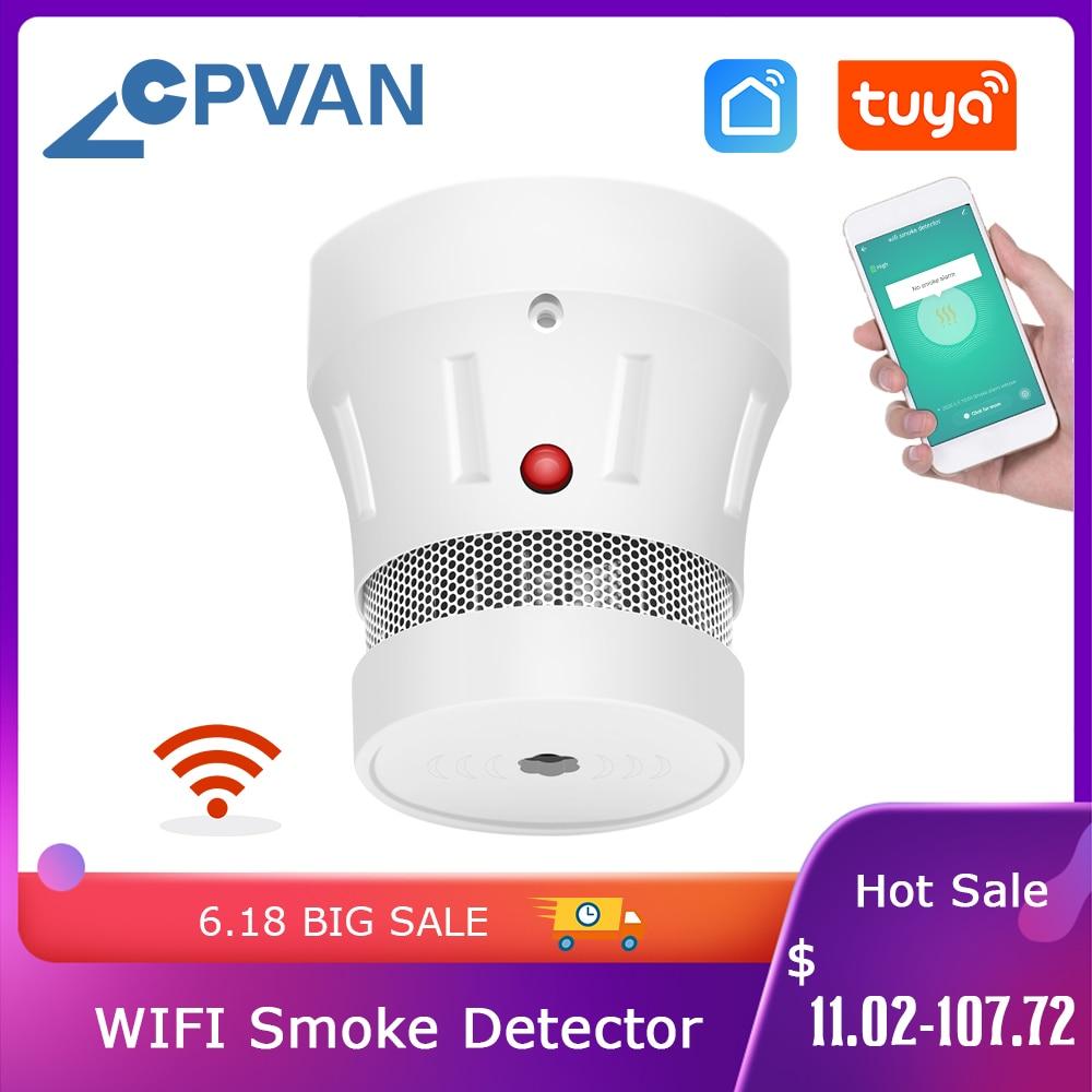 CPVan WiFi детектор дыма Tuya Smart Life APP 85dB Предупреждение противопожарная защита датчик дыма домашняя система безопасности пожарные