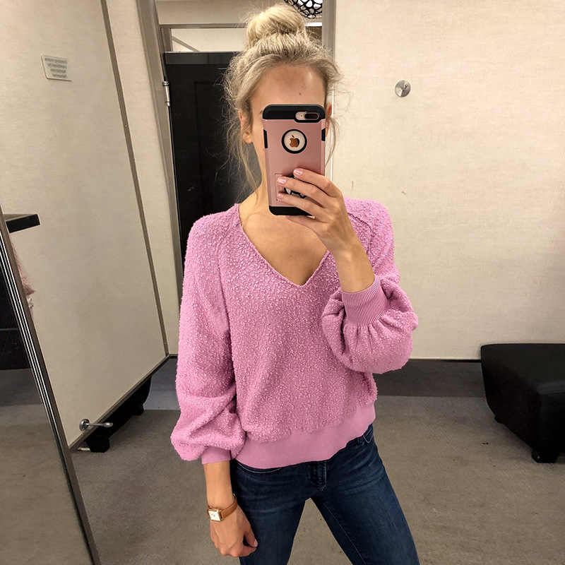 2020 herbst frauen Kleidung Vogue Komfortable O Neck Long-sleeve Pullover Kintted Pullover Blau frauen Langarm pullover