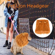 Pet Headgear Pet Decoration Mane Wig with Ears Adjustable Washable Fancy Costume Cute Dogs Pet lion headgear with ears brown(China)