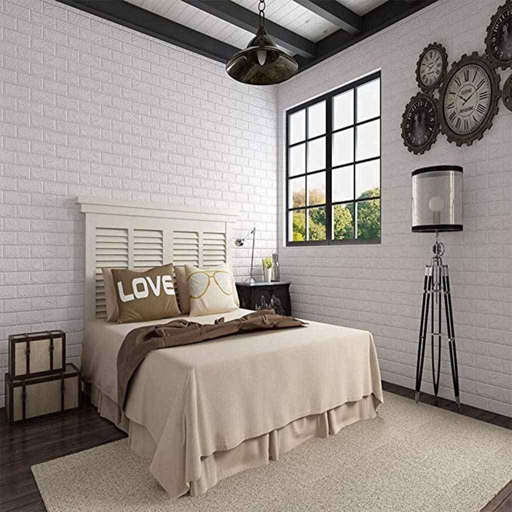 10 個 70*77 センチメートル DIY 自己粘着 3D 壁ステッカー寝室のインテリア泡レンガルーム壁の装飾の壁紙リビング壁ステッカー子供のための
