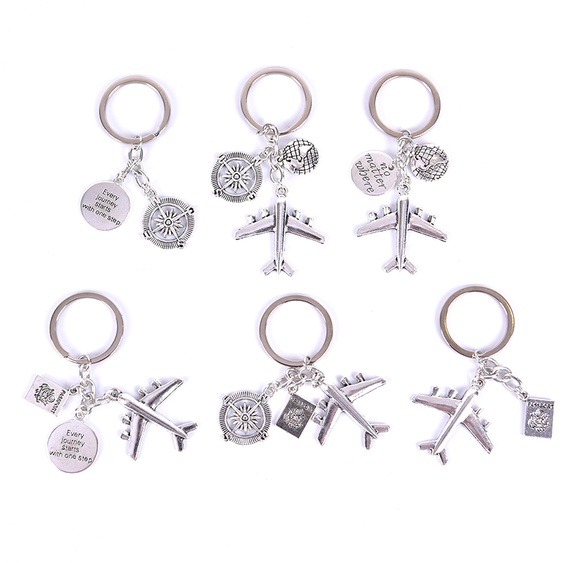 1PCS Friendship Best Friend Earth Airplane Keychains No Matter Where Pendant Travel Keyring Jewelry Diy Gift For Traveler image