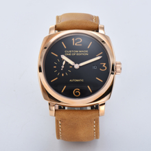 Seagull automatic movement watch 47mm luxury PVD steel case leather strap military calendar luminous hand