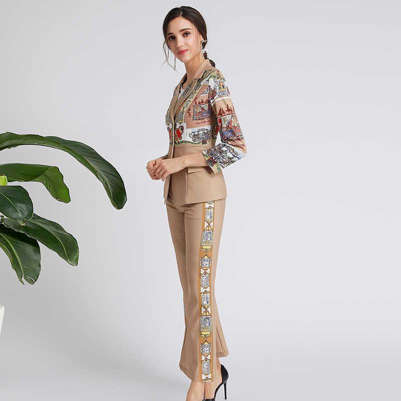 2019 แฟชั่นฤดูหนาวปกติผู้หญิงชุดคุณภาพสูงสำนักงานเลดี้แขนยาวเสื้อ + กางเกง Flare Slim พิมพ์ชุด