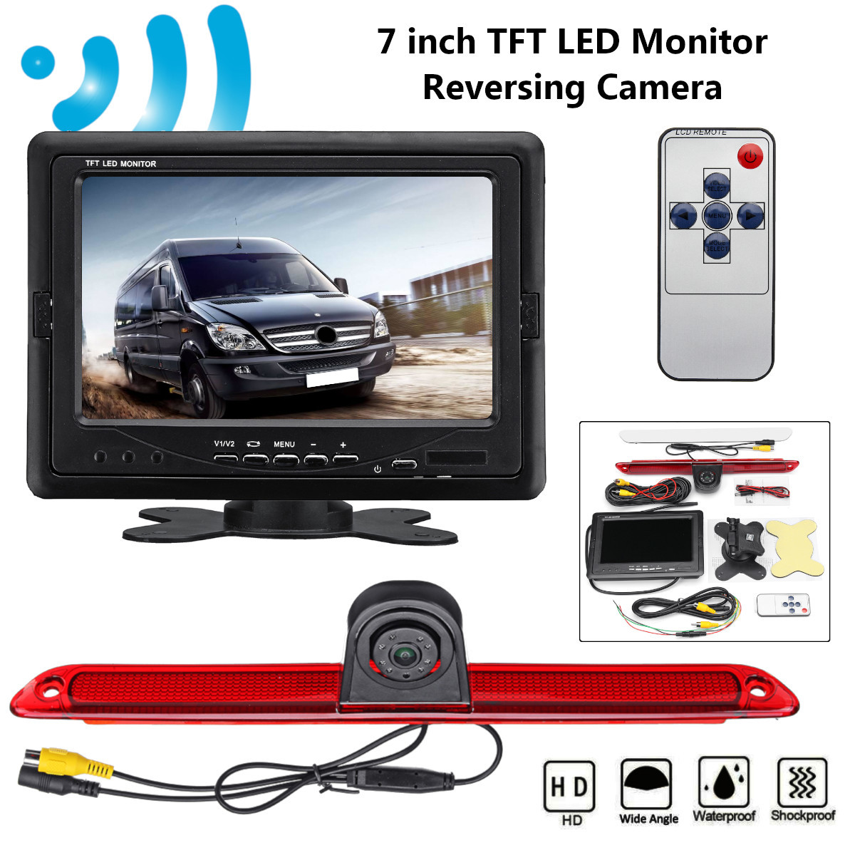 7inch TFT LED Monitor Reversing Backup Rear View Camera Parking For Mercedes-Benz for Dodge Sprinter for VW Crafter 2006-2015