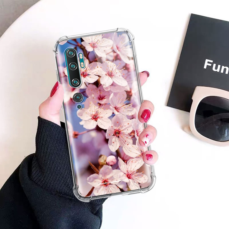 Cherry Blossoms Case For Xiaomi Mi Note 10 9 CC9 9T Pro 5G CC9E A2 Lite X2 Airbag Anti Fall TPU Phone Coque