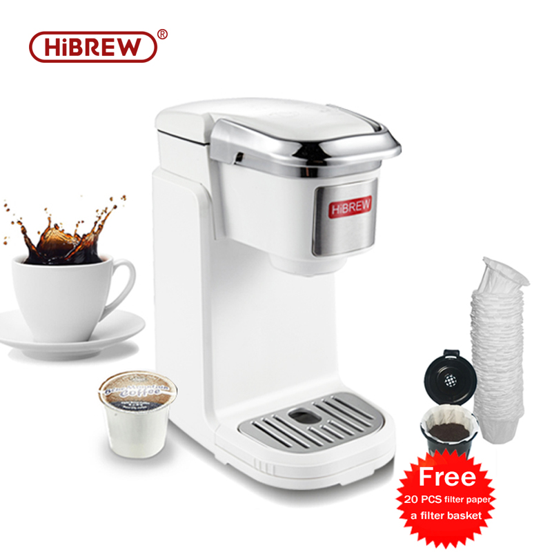 HiBREW Coffee Machine Single Serve Coffee Maker Brewer For K-Cup Pod & Ground Coffee, Compact Size Portable Designed Tray Set