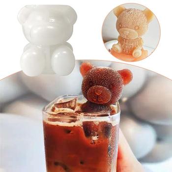3D kostkarka do lodu mały miś DogShape foremka do czekolady taca lody narzędzie do majsterkowania Whiskey wino koktajl kostki lodu silikonowe formy tanie i dobre opinie Other CN (pochodzenie) Ekologiczne 3D Bear Teddy Ice Cream Mold Przybory do lodów Z gumy silikonowej Ice Cube ice cube tray