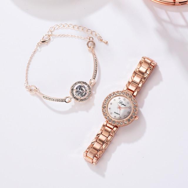Luxury Bracelet Watches Set For Women Fashion Geometric Bangle Quartz Clock Ladies Wrist Watch Zegarek Damski 4