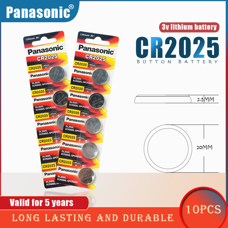 10PCS/lot PANASONIC Original CR2025 Button Cell Battery 3V Lithium Batteries CR 2025 for Watch Toys Computer Calculator Control(China)