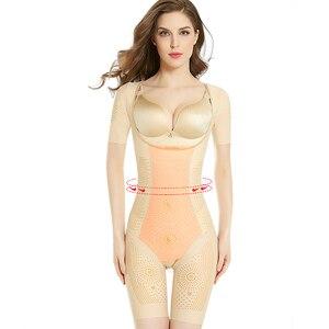 Image 4 - Wechery femmes classeurs et Shapers pleine longueur body femme minceur Shaper 3XL grande taille ceinture Sexy Floral Shapewear