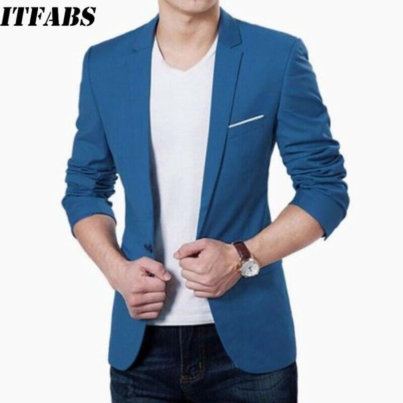 Cotton Blazer Korean Coat Jacket Suit Slim-Fit Wedding Blue Male Mens Fashion Black 3XL
