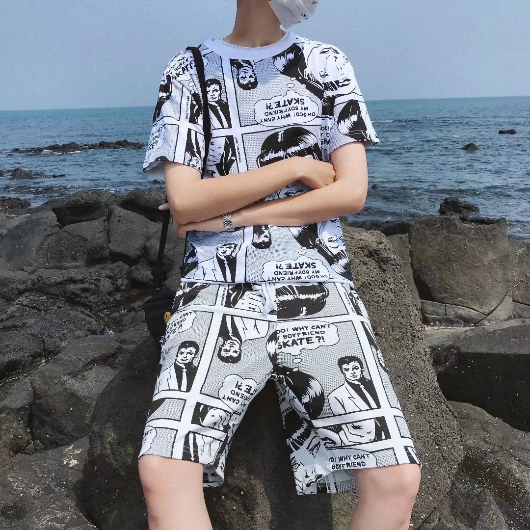 2019 Summer Wear American Vintage And American Style Social Cartoon Crew Neck Set Short Sleeve T-shirt Men's Hip Hop Set Fashion