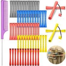 Tiges de permanente en plastique pour cheveux, courtes, ondulées à froid, rouleaux de bouclage avec peigne en queue de broche en acier, 48 pièces