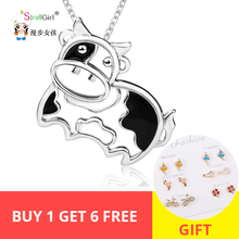 StrollGirl Hot Sale Animal Necklace 100% 925 Sterling Silver Dairy Cow Pendant Cute Jewelry Gift For Girl Free shipping