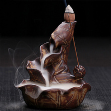 Lotus Fountain Incense Holder Burner Waterfall Backflow Home Decor Buddhist Aroma Censer for Tea house with 20 Incense Cones