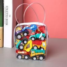 Модель автомобиля 6 шт., игрушечная мобильная техника, пожарная машина, такси, модель детского мини-автомобиля, игрушка для мальчиков, подаро...