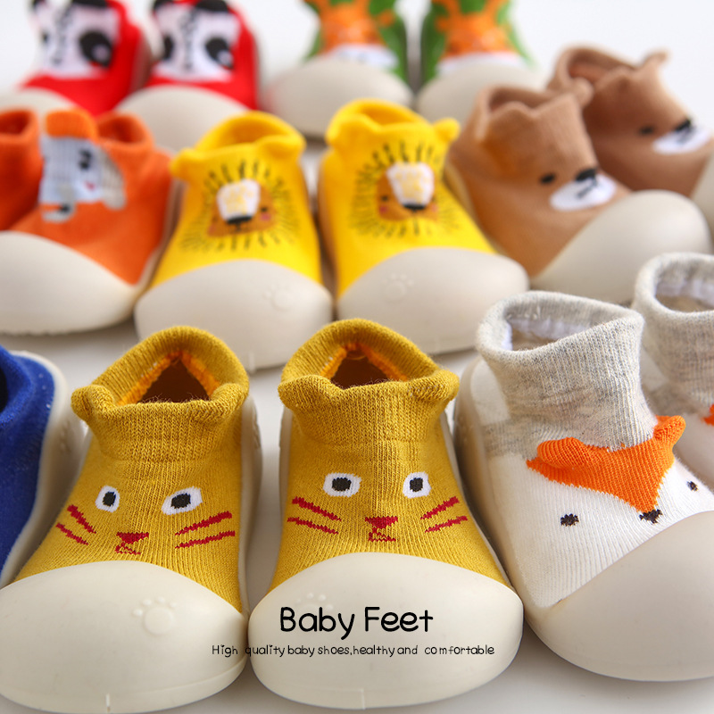 Fashion Anti Slip Shoes Kids Booties Cartoon Slipper Baby Shoes Girls Boots Newborn Warm Cotton Floor Socks First Walkers
