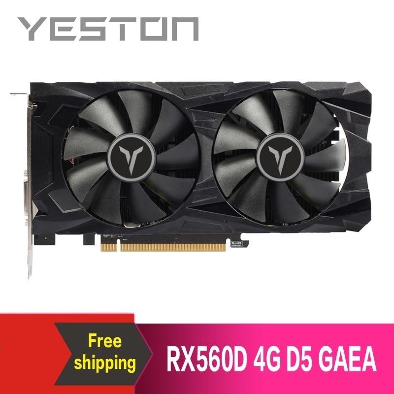 Yeston Radeon RX560D 4GB GDDR5 PCI Express  3.0 DirectX12 video gaming graphics card external graphics card for desktop 1