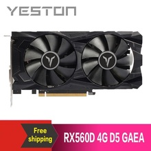 Yeston radeon rx560d 4gb gddr5 pci express 3.0 directx12 placa gráfica externa do jogo de vídeo para o desktop