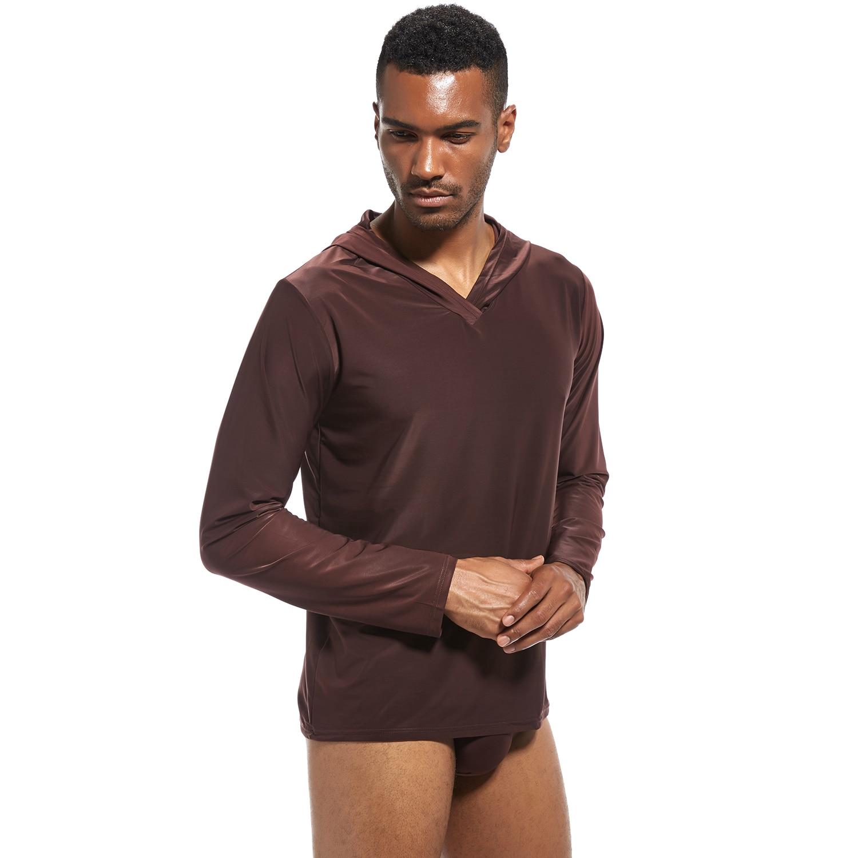 Camisa de dormir com capuz de seda