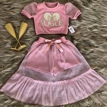 Neue Sommer Kleinkind Kinder Baby Mädchen Kleidung Prinzessin Kleidung Sets Vogue Mesh Kurzarm Tops Rüschen Rock Outfits
