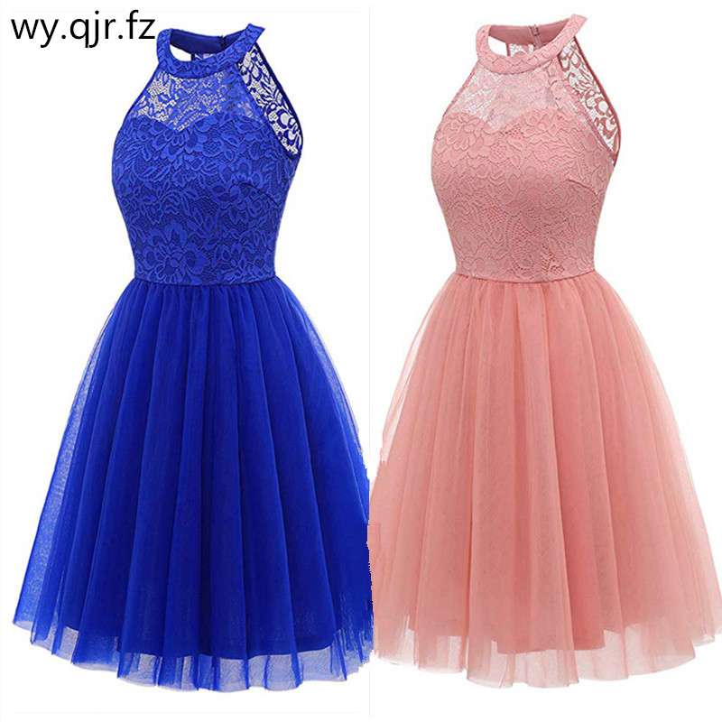 OML-539#Bridesmaid dress short purple dark blue pink etc wedding party prom dresses yarn lace graduation gown Girls wholesale