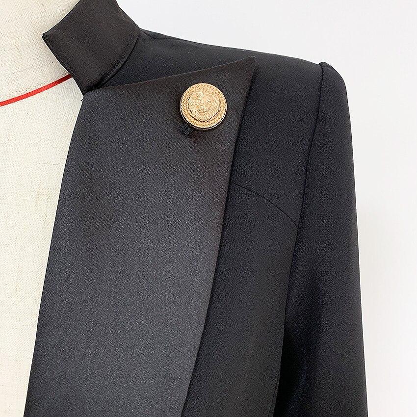 HIGH STREET Neue 2019 Designer Stilvolle Blazer frauen Single Button Lion Taste Verschönerte Satin Kragen Blazer Jacke - 6