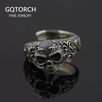 Gothic Punk Skull Rings For Men And Women 925 Sterling Silver Jewelry Resizable Vintage Flower Engraved Skeleton Finger Band
