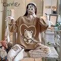 CAIYIER 2020 пижамный комплект с принтом милого медведя, женская одежда для сна с круглым вырезом и длинным рукавом, плотная пикантная Ночная оде...