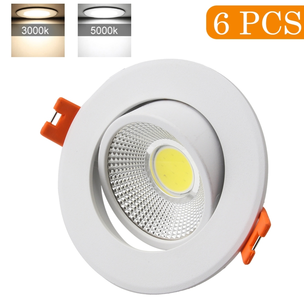 6Pcs 3000K 5000K Warm/Cool COB Ceiling Recessed Spotlight Angle Adjustable Home Lamp