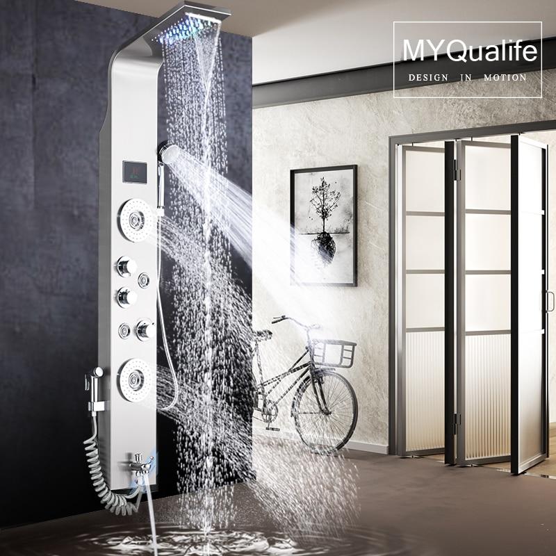 H369886d9975141d0b8c1679714a6232a7 Black LED Light Shower Faucet Bathroom SPA Massage Jet Shower Column System Waterfall Rain Shower Panel Bidet Sprayer Tap