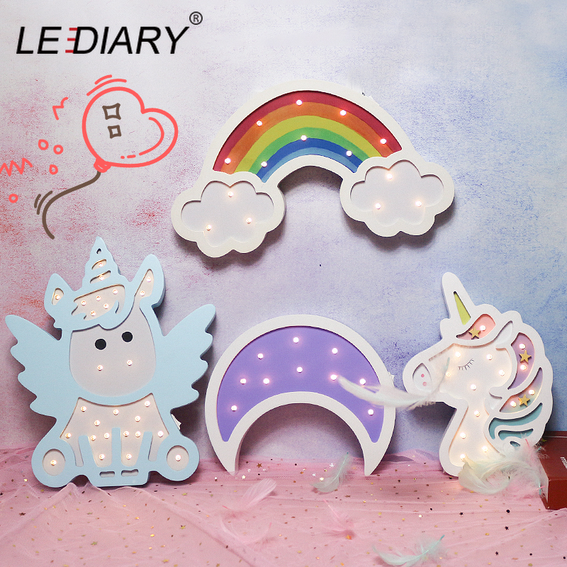 LEDIARY Animal Wooden Unicorn Night Lights Owl Dinosaur Bear Cat Elephant Room Decor Night Desk Table Lamp Moon Star Multicolor