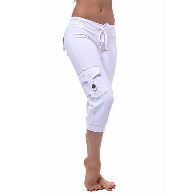 Adisputent 2020 Women Casual Pants Cropped Capri Pants Female Spring Stretch Solid Tapered Trousers Calf-length Stretchy Pants