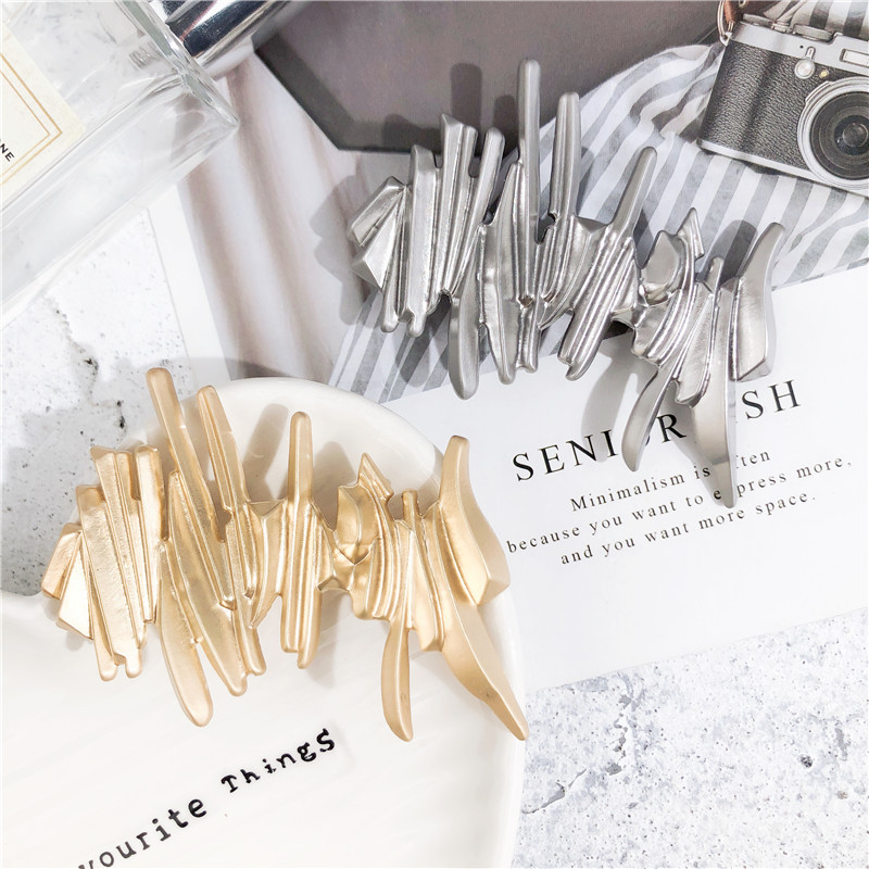 HZ 2019 Korea Irregular Metallic Spring Golden Cool Unique Hair Clip Hair Grip Barrettes Hairpin Hair Accessories For Women