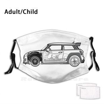 Mini Jcw Gp Blueprint filtro antipolvo para niños adultos máscara Diy Mini Cooper Jcw Gp automóvil coche caliente maletero de portón Blueprint