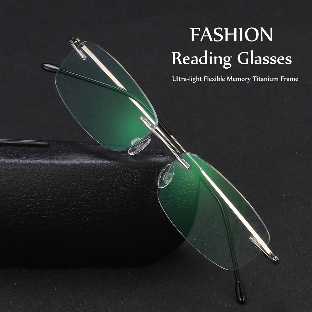 1 Pcs New Fashion Unisex Reading Glasses Rimless Ultra-light Memory Titanium Presbyopic Eyeglasses Health Care Magnetic Eyewear