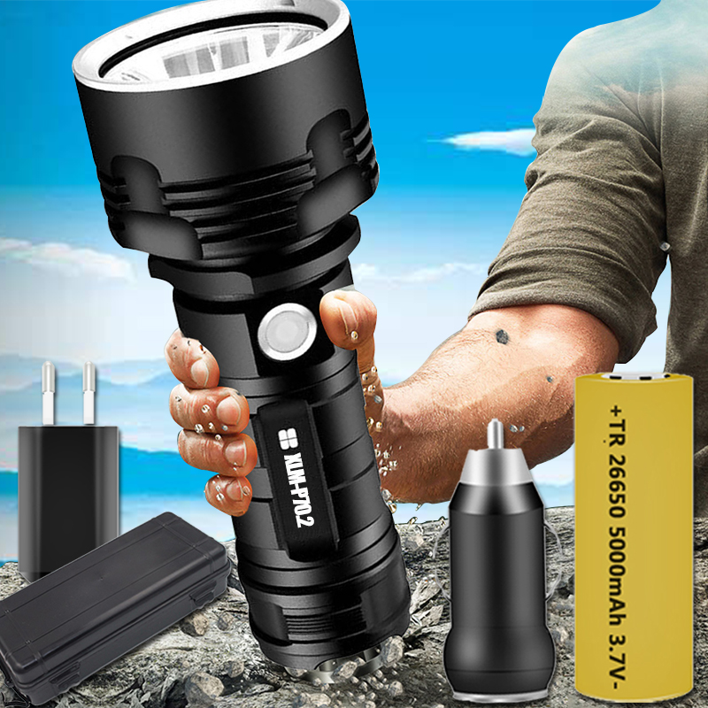 Ultra Bright LED Flashlight XHP70 Torch USB Rechargeable Waterproof Lamp 5-Modes