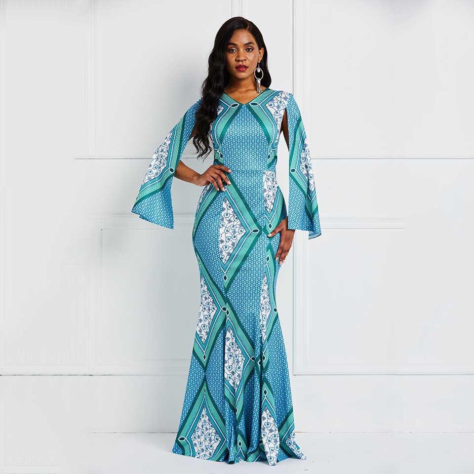 Sisjuly African National Style Long Sleeve Floor-Length Print Standard-Waist Mermaid Dress Elegant Party Maxi Dresses Fashion