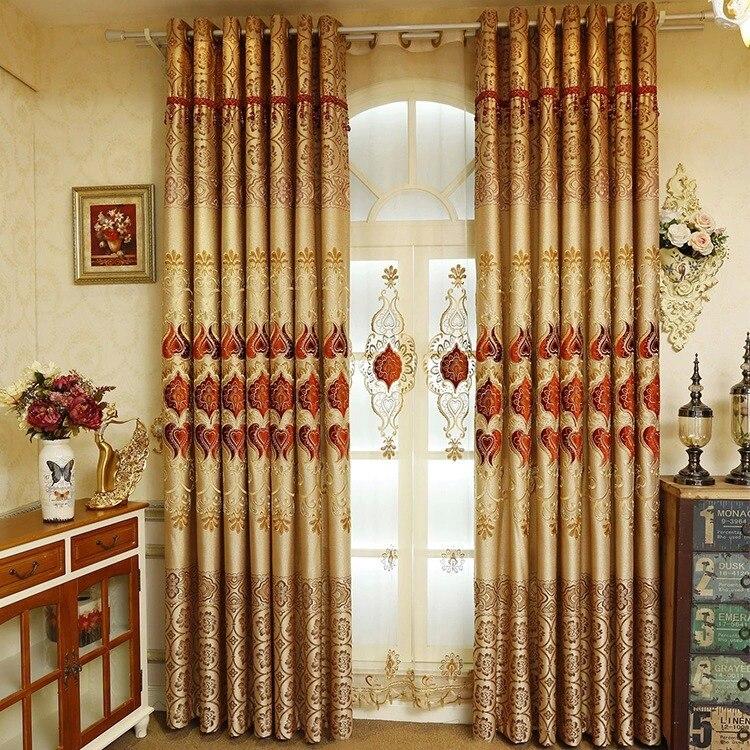 Gold Joyful Life European Style High-end Velvet Embroidered Shade Fabric Living Room Bedroom Balcony Landing Custom Curtains