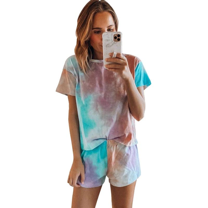 Summer Women Sleepwear Nightwear PJS Casual 2PCS Short Sleeve O Neck Tops+Shorts 2 Pieces Tie Dyeing Printed Pajamas Set Girls