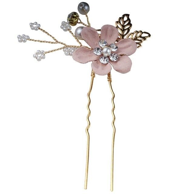 Accessoires de cheveux de mariage de mariée mode perle cristal tissu fleur cheveux peignes coiffure or feuilles cheveux bijoux épingles à cheveux