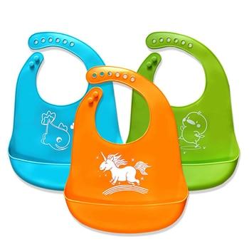цена на PXALL Dining Waterproof Baby Soft Silicone Bibs+Triangle bib Cloths Toddler Kids Adjustable Feeding Apron Saliva Bandana Cartoon
