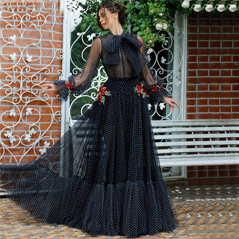 Eightree Black Evening Dresses 3D Flowers Evening Party Gown Dot Chiffon Puff Sleeves Formal party Prom Dress vestido de festa