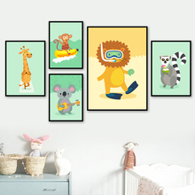 Giraffe Monkey Koala Lion Cartoon Wall Art Print Canvas Painting Nordic Posters And Prints Pictures Baby Kids Room