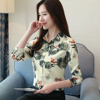 Womens Tops And Blouses Flower Printed Fashion Office Shirts Long Sleeve Vintage Ladies Plus Size Blusa Feminina Blouses 621B3 цена 2017