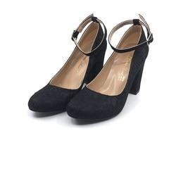 Womens Lace Plating Thick Heel Shoes Siyahçınar PLA47-400